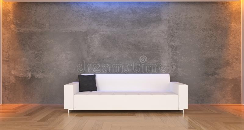 Concrete Room With White Classic Sofa And Pillow. 3D Rendering Of Realistic Concrete Room With White Classic Sofa And Pillow stock illustration