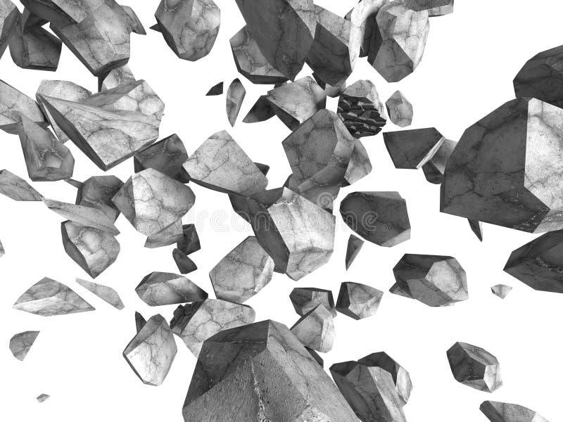 Concrete rotsstenen die op witte achtergrond vallen vector illustratie