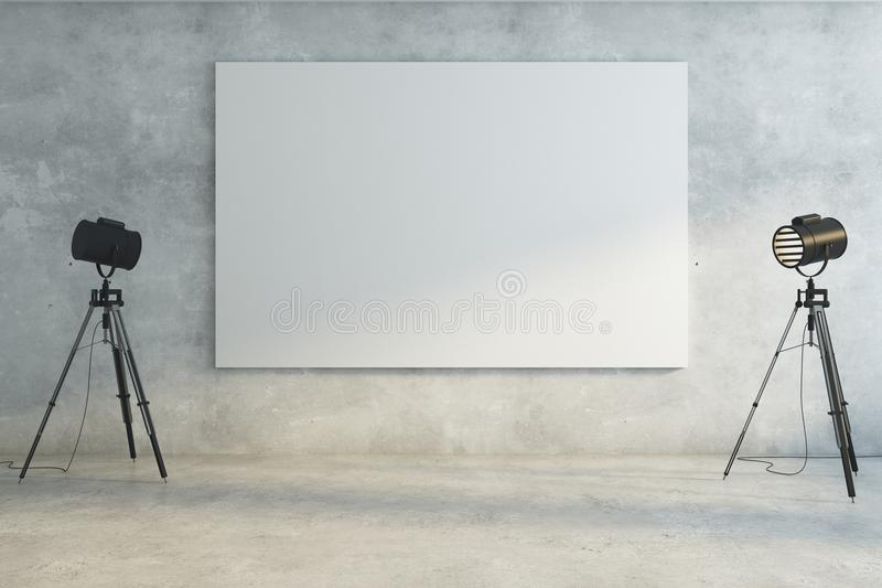Concrete ruimte met lege whiteboard royalty-vrije illustratie