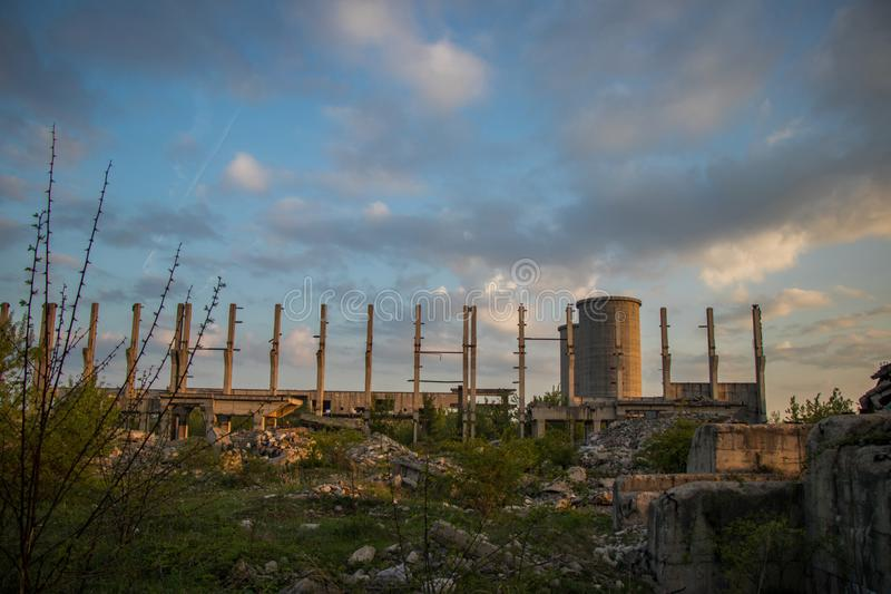 Concrete ruins and blue sky royalty free stock photography