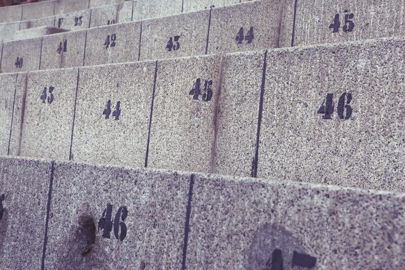 Concrete Seats With Numbers Free Public Domain Cc0 Image