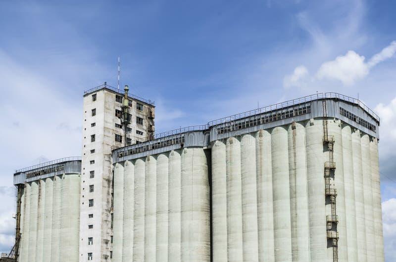 Concrete silo building. High capacity concrete silo building for grain storage royalty free stock photography