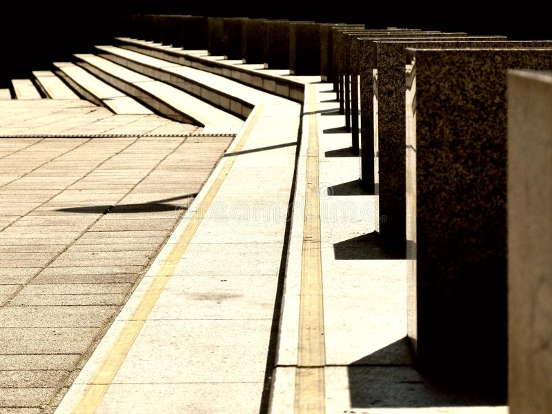 Concrete Steps and Decorative Granite Cubes in Perspective royalty free stock images