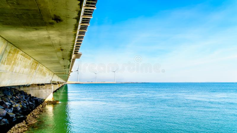 The concrete structure Storm Surge Barrier built in the province of Zeeland. In the Netherlands to prevent flood disasters as that in 1953 stock images
