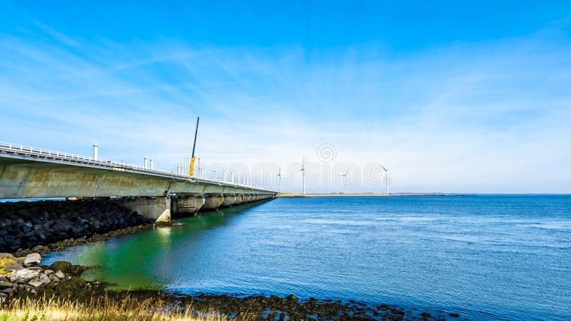The concrete structure Storm Surge Barrier built in the province of Zeeland. In the Netherlands to prevent flood disasters as that in 1953 royalty free stock photography