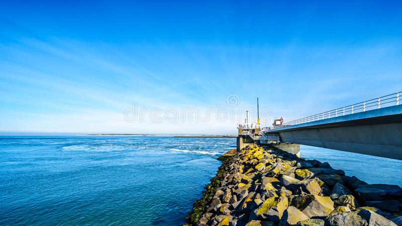 The concrete structure Storm Surge Barrier built in the province of Zeeland stock image