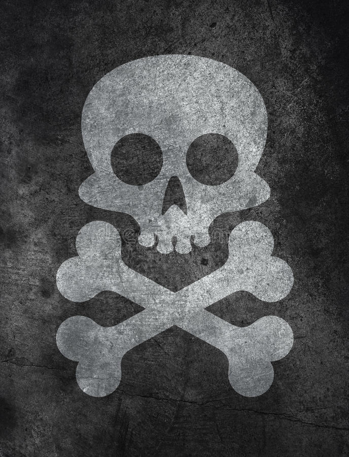 Concrete texture with skull. Dark concrete floor texture background with skull and bones royalty free illustration