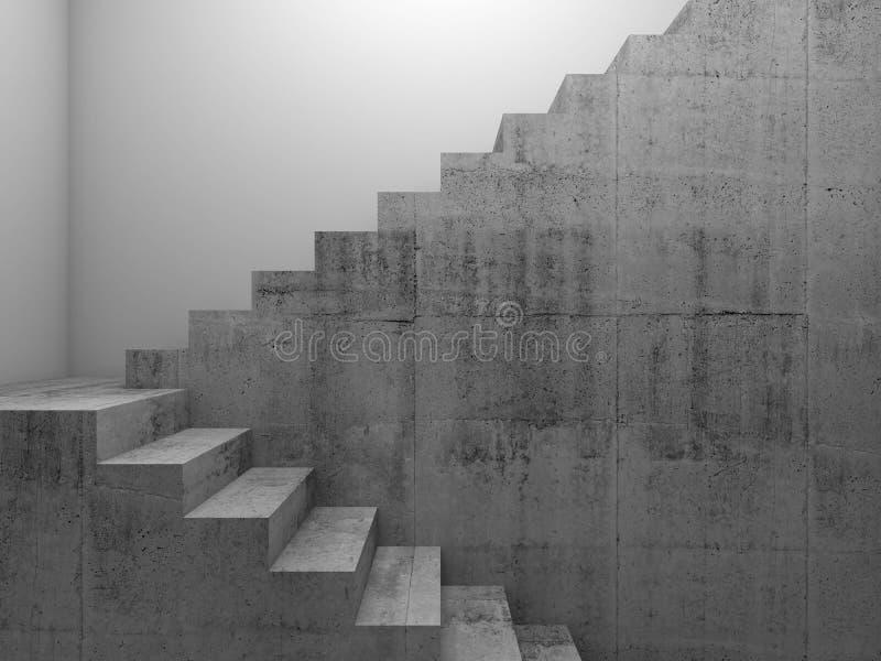 Concrete trap in witte ruimte 3 D royalty-vrije stock foto