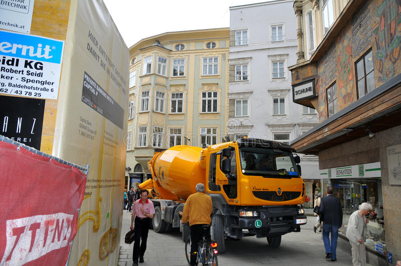 Concrete trucks in Salzburg. Casting of concrete mixers in the city center royalty free stock photography