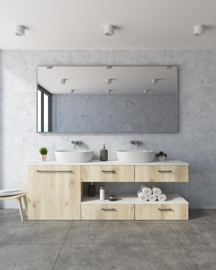 Download Concrete Bathroom, White Double Sink Stock Illustration    Illustration Of Architecture, Cloth: