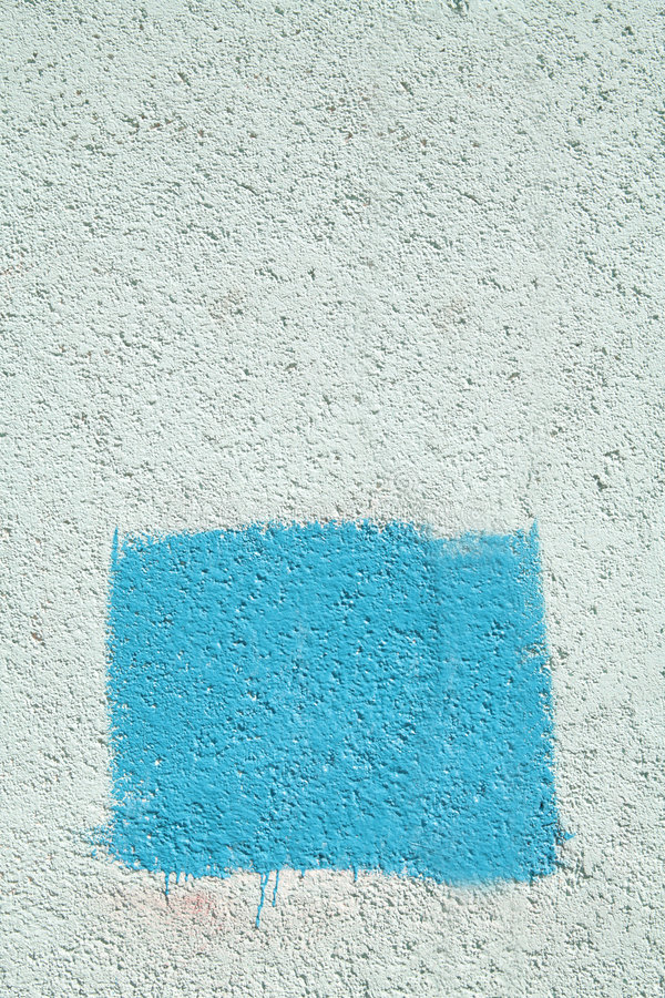Download Concrete Wall With Blue Rectangle Stock Image - Image: 5117301