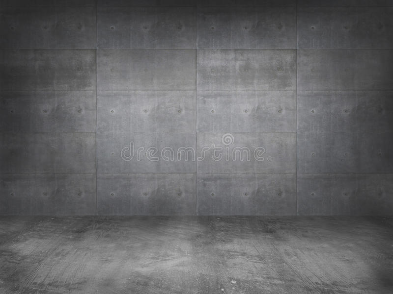 Concrete wall with concrete floor. 3d stock images