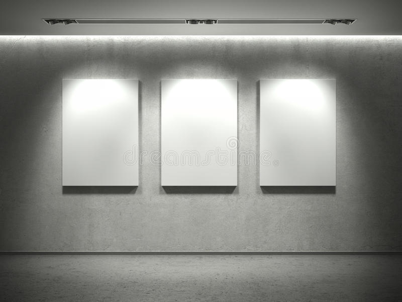 Concrete Wall With Empty Frames And 3 Spot Lights Stock Illustration ...