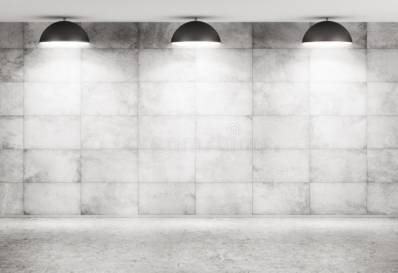 Concrete wall and floor interior background 3d rendering stock illustration