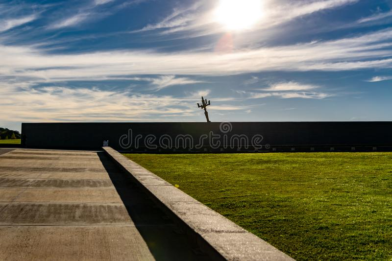 Wall with the names of victims of state violence in the Park of Memory in Buenos Aires, Argentina. Concrete wall with the names of victims of state violence in stock photography