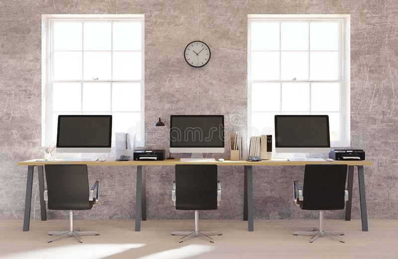 Concrete wall open space office interior with a wooden floor, a blank wall and a row of computer desks along the wall. 3d renderin vector illustration
