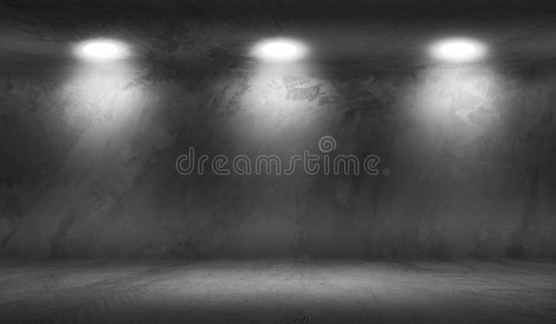 Concrete Wall Room with Floor Empty Garage. Interior Background royalty free illustration