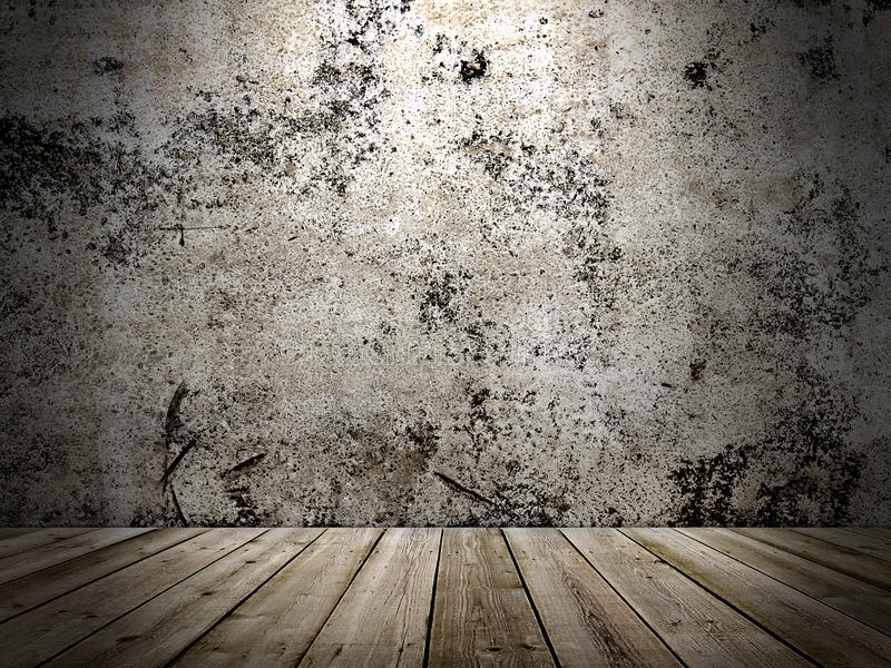 Concrete wall and wooden floor in a grunge style. Image concrete wall and wooden floor in a grunge style royalty free stock photos