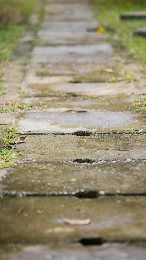 Concrete water drain covers or also known as a ditch. Concrete water drain covers or also known as a ditch on the road between green grasses royalty free stock photos