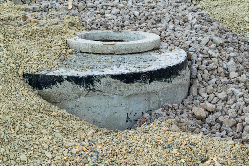 Concrete water wells stock images