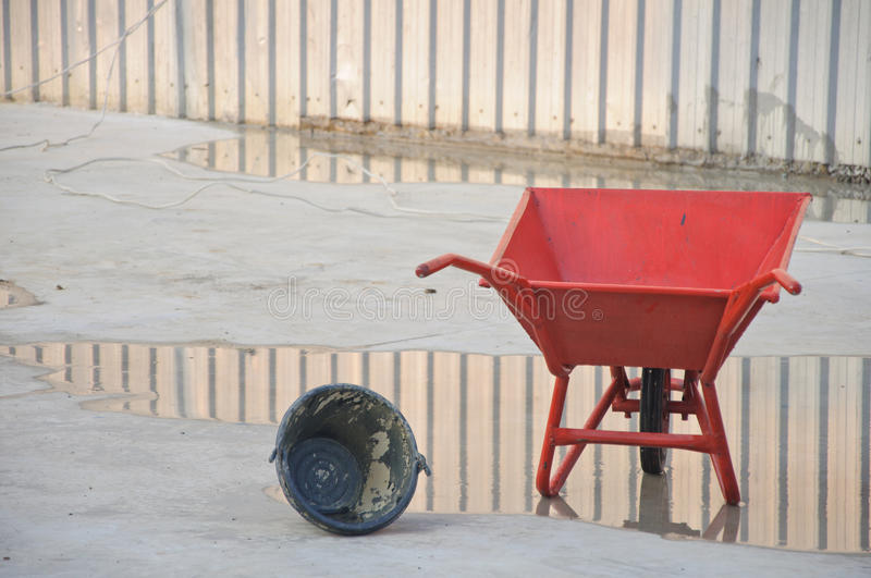 Download Concrete Wheel Barrow With Can Stock Photo - Image of work, cart: 24511902