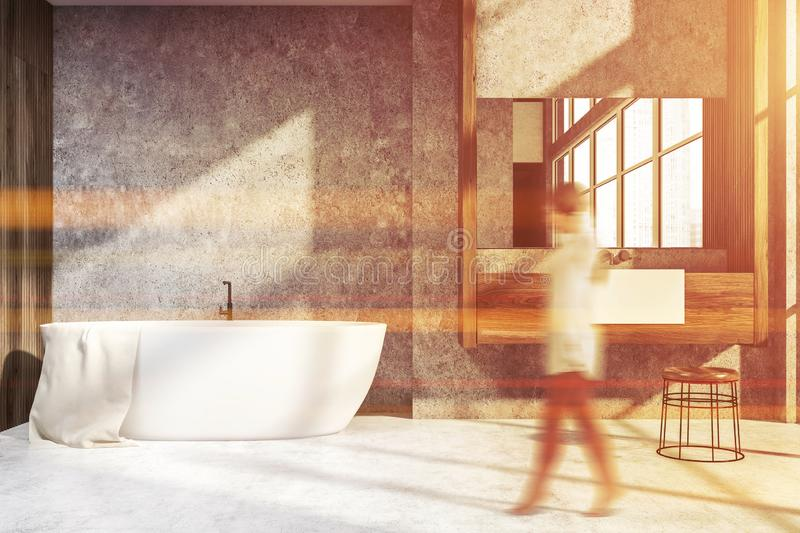 White and concrete bathroom, sink and mirror, girl. Woman in interior of modern bathroom with white wooden and concrete walls, tiled floor, panoramic window and stock photos