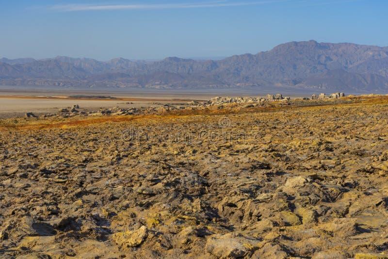 Concreties van zoute rotsen in Dallol in de Danakil-Depressie in Ethiopi?, Afrika stock fotografie