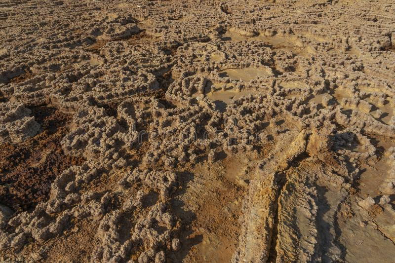 Concretions of salt rocks at Dallol in the Danakil Depression in Ethiopia, Africa. Concretions of salt rocks at Dallol in the Danakil Depression in Ethiopia in royalty free stock image