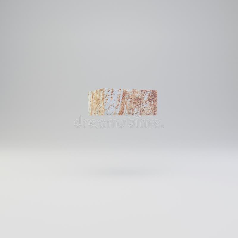 Concreto meno il simbolo con i graffi arrugginiti del metallo su fondo bianco illustrazione vettoriale