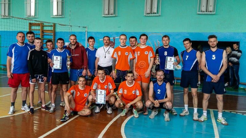 Concurrence amateur de volleyball dans la région de Gomel du Belarus image libre de droits