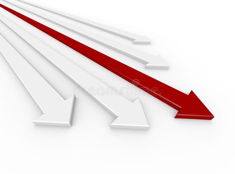 Concurrence - avances rouges de flèche illustration libre de droits