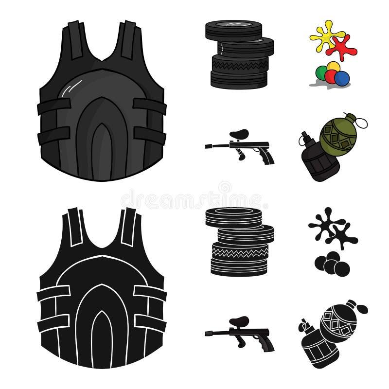 Concurrence, concours, équipement, pneus Icônes réglées de collection de Paintball dans la bande dessinée, actions noires de symb illustration stock