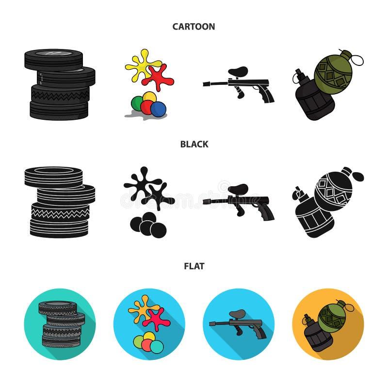 Concurrence, concours, équipement, pneus Icônes réglées de collection de Paintball dans la bande dessinée, noir, actions plates d illustration libre de droits