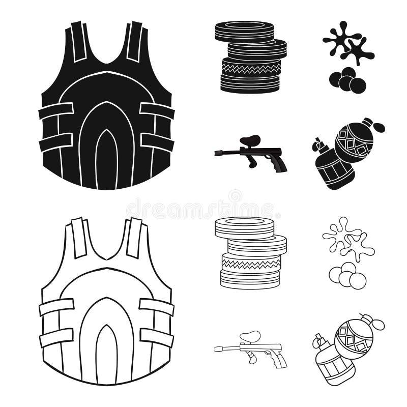 Concurrence, concours, équipement, pneus Icônes réglées de collection de Paintball dans le noir, actions de symbole de vecteur de illustration de vecteur