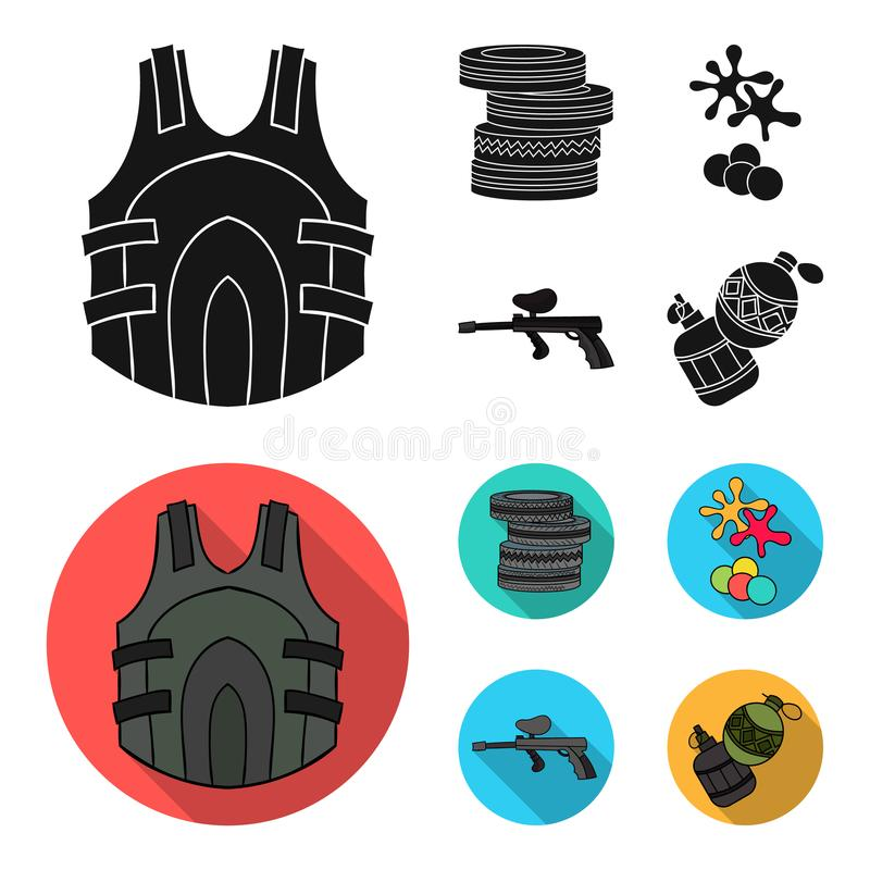 Concurrence, concours, équipement, pneus Icônes réglées de collection de Paintball en stock noir et plat de symbole de vecteur de illustration libre de droits