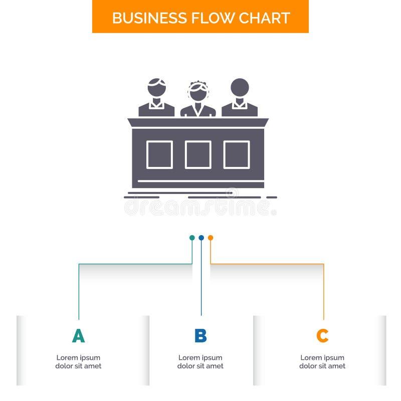 concurrence, concours, expert, juge, conception de fortune d'organigramme d'affaires avec 3 étapes Ic?ne de Glyph pour le calibre illustration de vecteur