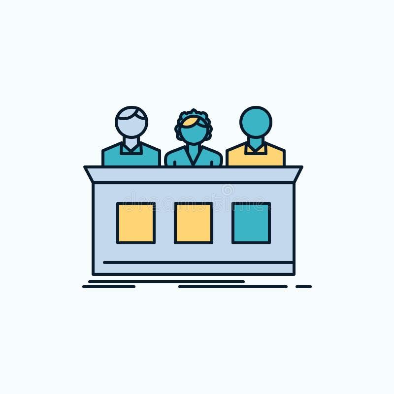 concurrence, concours, expert, juge, icône plate de fortune signe et symboles verts et jaunes pour le site Web et l'appliation mo illustration stock