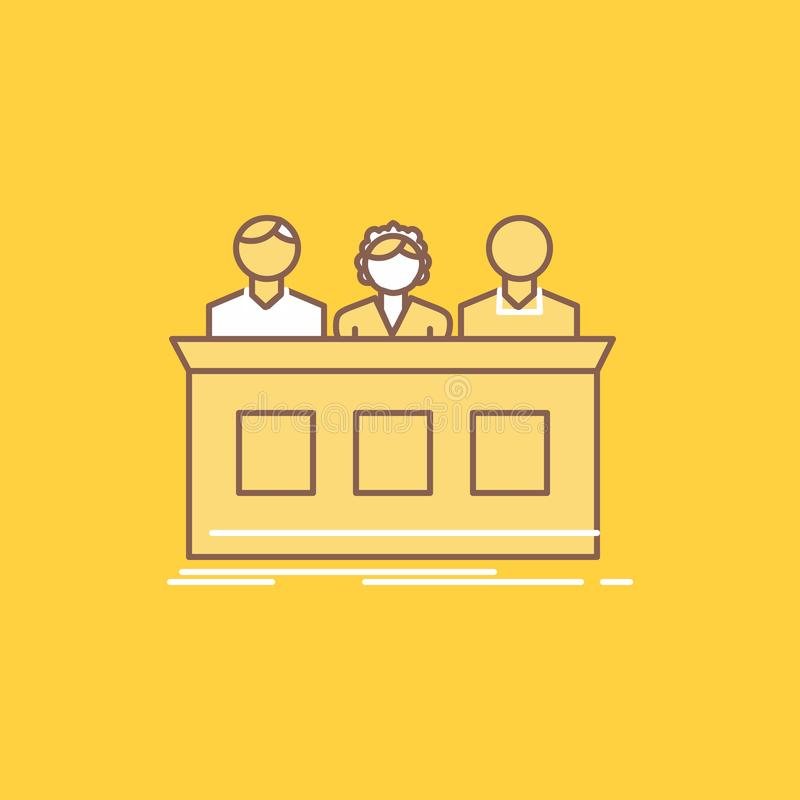 concurrence, concours, expert, juge, ligne plate de fortune icône remplie Beau bouton de logo au-dessus de fond jaune pour UI et  illustration de vecteur