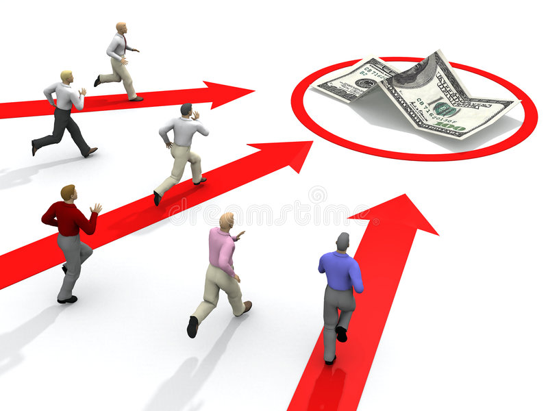 Concurrence d'homme d'affaires pour l'argent illustration de vecteur