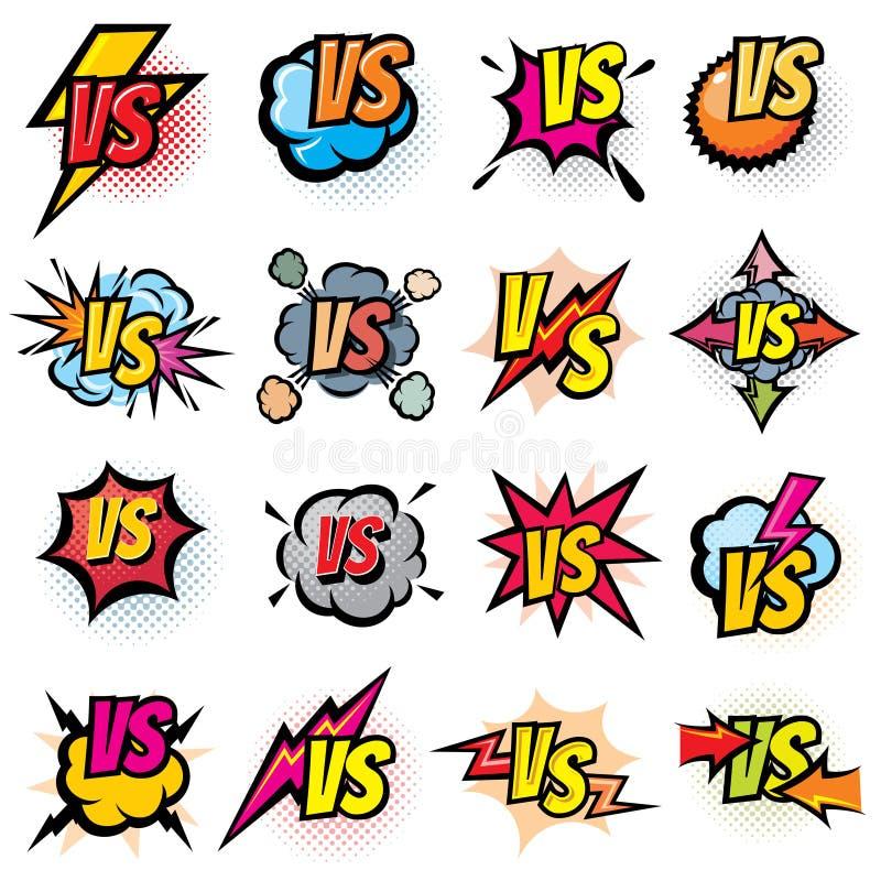 Concurrence de bataille contre des logos de vecteur réglés Contre des rivaux le défi symbolise et des labels illustration stock