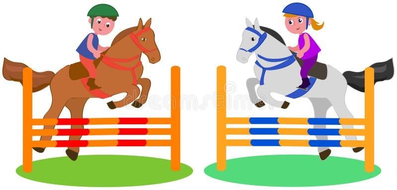 Concurrence de cheval d'enfants illustration de vecteur