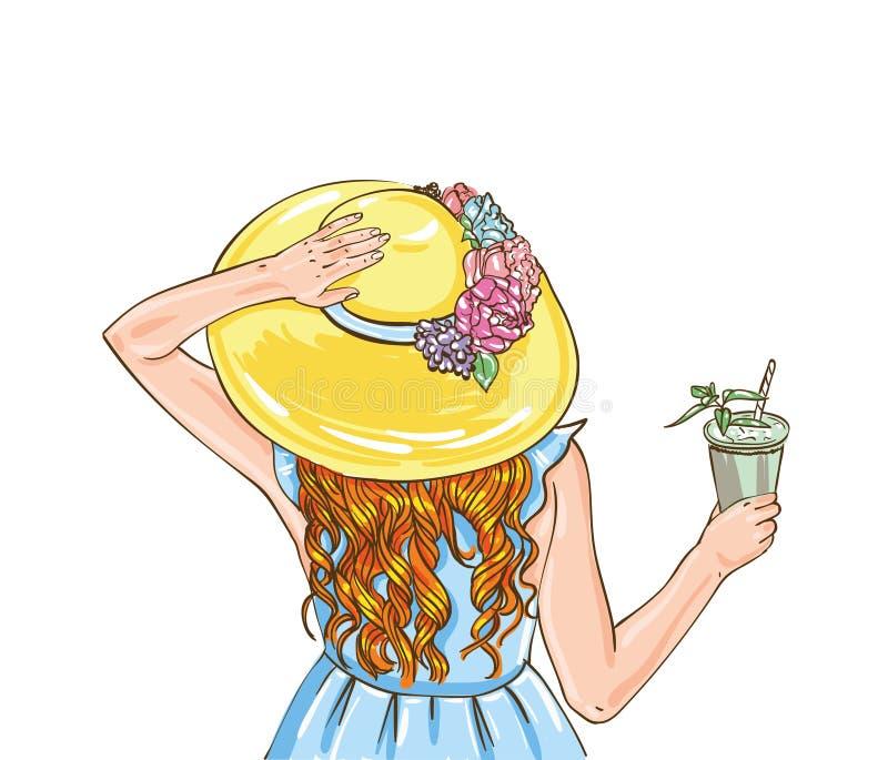 Concurrence de course de chevaux Illustration de vecteur derby Femme avec le cocktail dans le chapeau illustration de vecteur