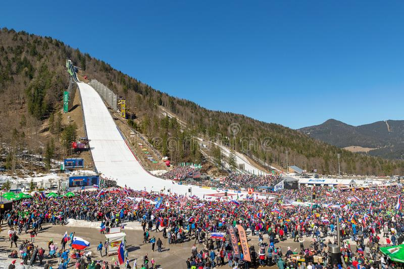 Concurrence 2019 de FIS Ski Jumping World Cup Team dans Planica, Slovénie image stock