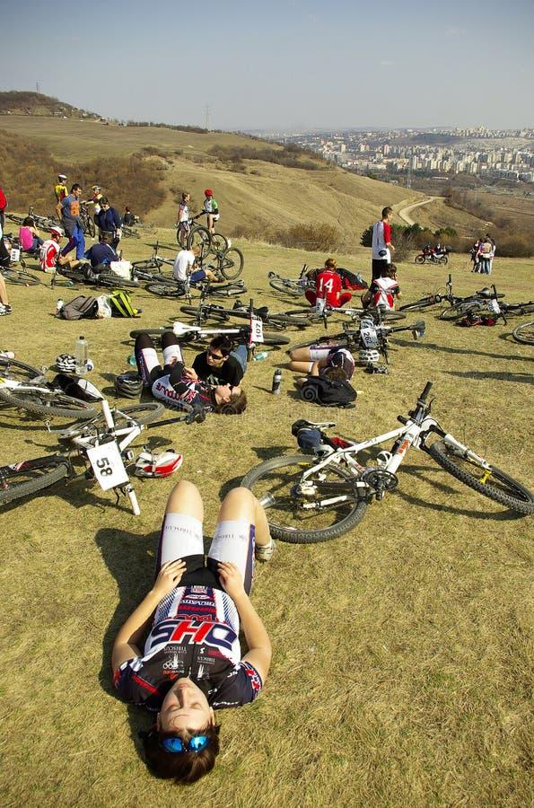 Concurrence de vélo de montagne photos libres de droits