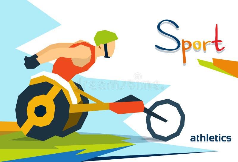 Concurrence handicapée de Wheel Chair Sport d'athlète de course illustration libre de droits