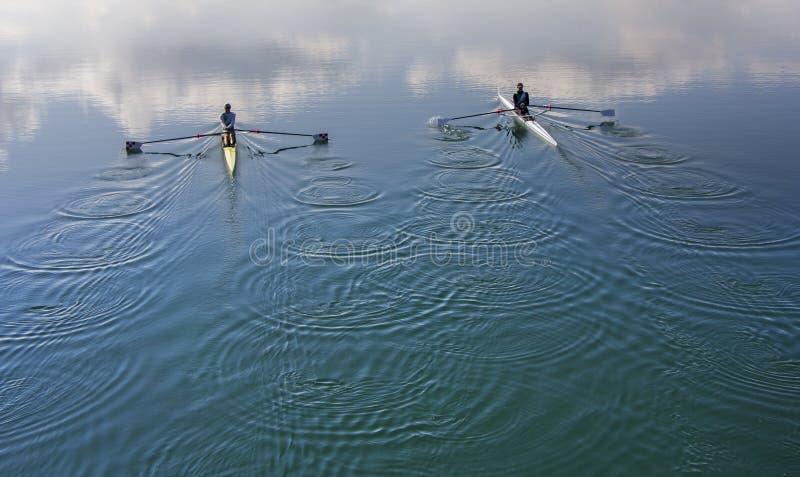 Concurrent d'aviron de deux avirons, ramant la course photographie stock