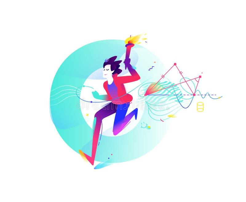 Concurrentie bij schoolonderwerpen Illustratie van een lopende jonge kerel met een toorts op de achtergrond van de brief O geomet vector illustratie