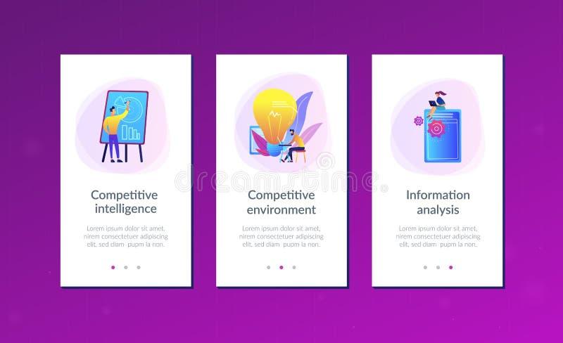Concurrerend intelligentieapp interfacemalplaatje vector illustratie