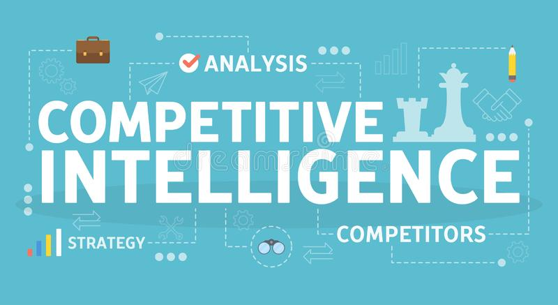 Concurrerend intelligentieconcept Idee van commerciële organisatie royalty-vrije illustratie