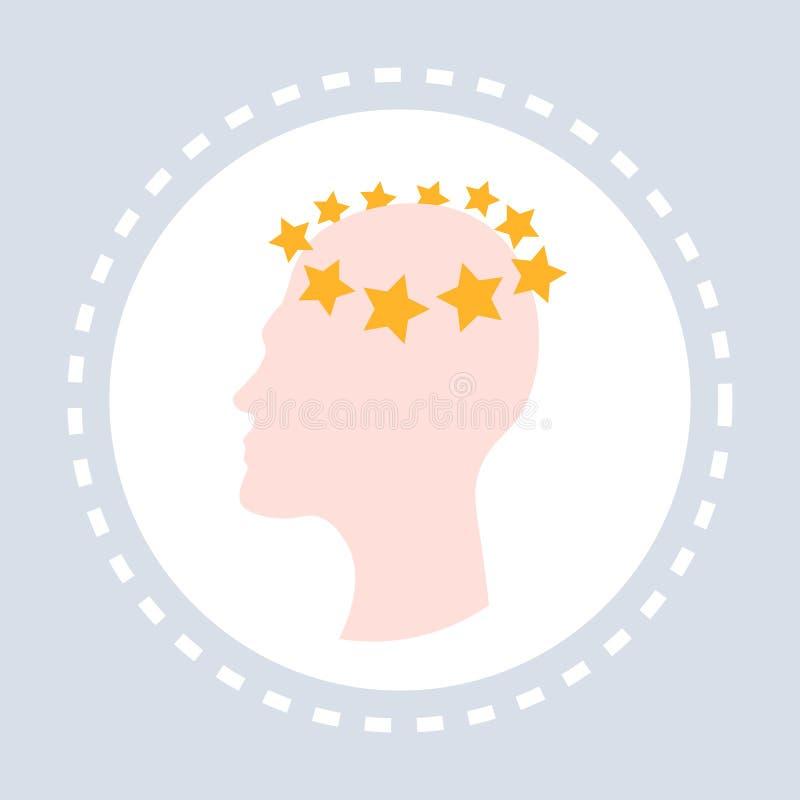 Concussion dizziness concept human head icon healthcare medical service logo medicine and health symbol flat. Vector illustration royalty free illustration
